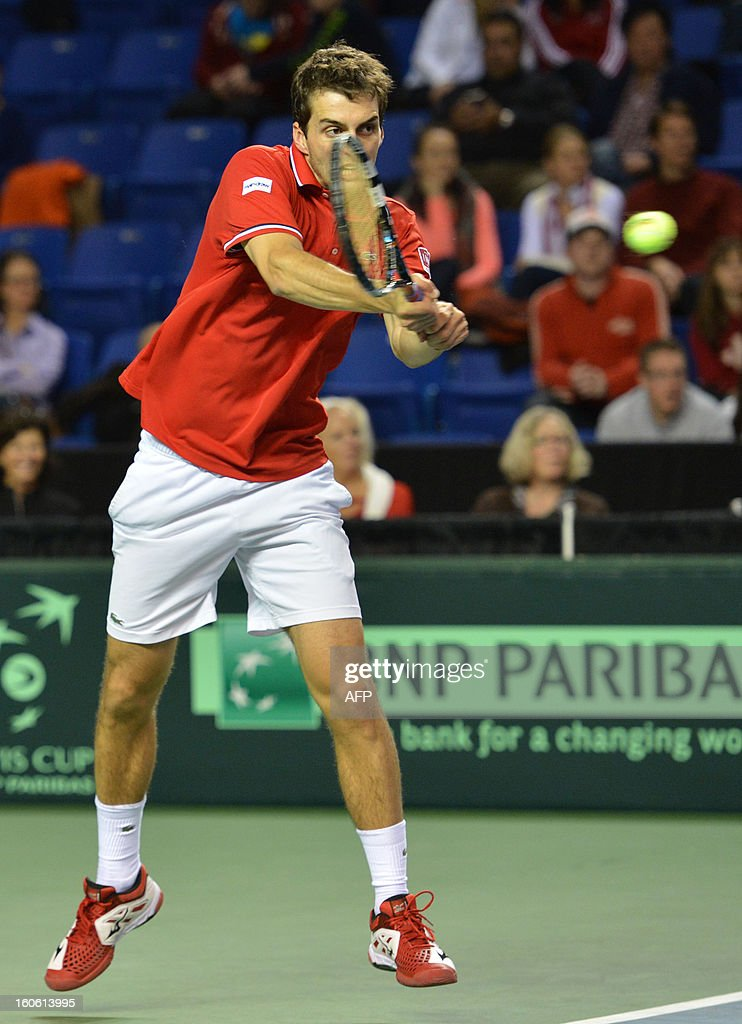Albert Ramos of Spain play against Frank Dancevic of Canada in a Davis Cup World Group, 4rd Singles Rubber, Sunday, on February 3, 2019 at the Doug Mitchell Thunderbird Sports Centre in Vancouver. Ramos of Spain, won the best two of three games. AFP PHOTO/Don MacKinnon