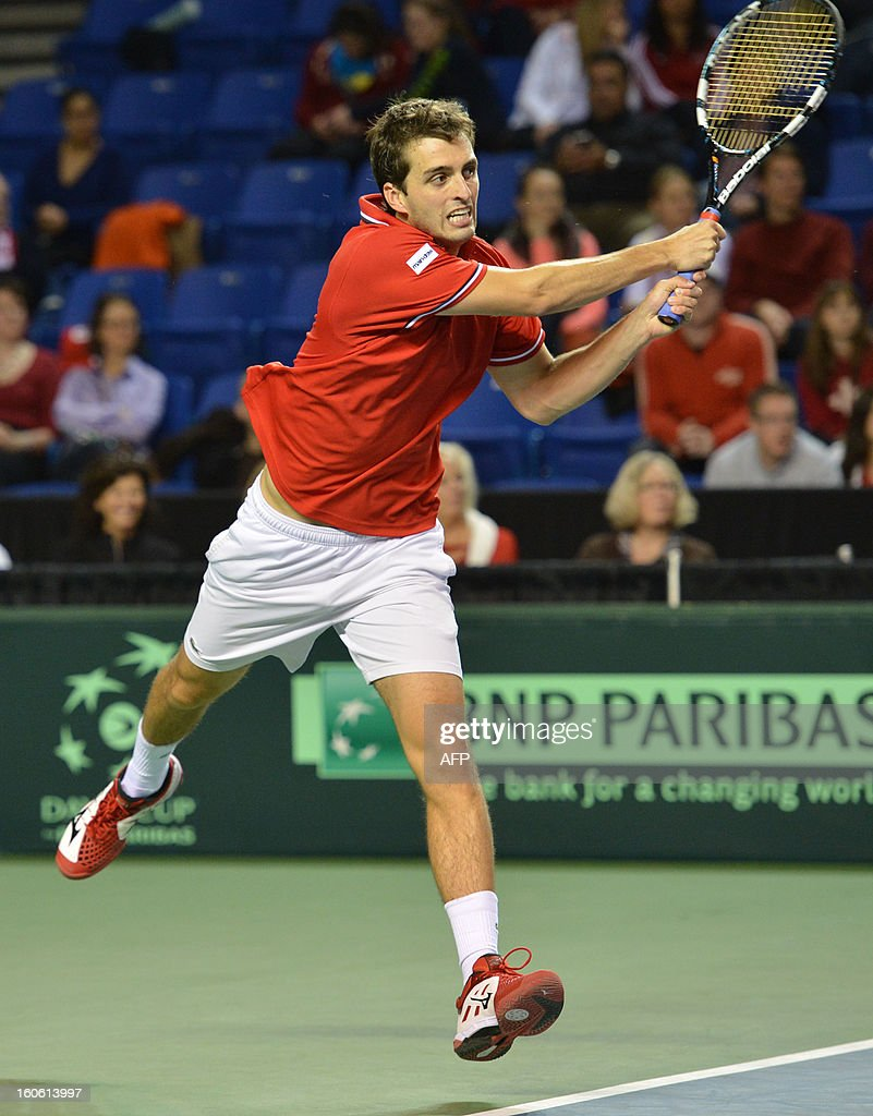 Albert Ramos of Spain play against Frank Dancevic of Canada in a Davis Cup World Group, 4rd Singles Rubber on February 3, 2019 at the Doug Mitchell Thunderbird Sports Centre in Vancouver. Ramos of Spain, won the best two of three games. AFP PHOTO/Don MacKinnon