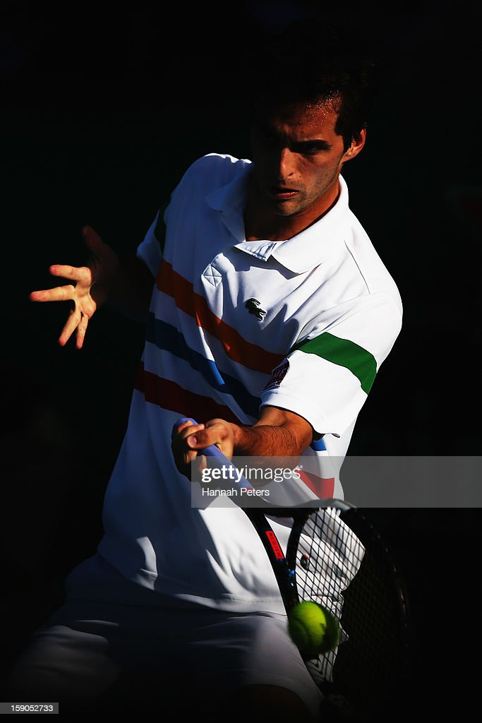 <a gi-track='captionPersonalityLinkClicked' href=/galleries/search?phrase=Albert+Ramos&family=editorial&specificpeople=6878507 ng-click='$event.stopPropagation()'>Albert Ramos</a> of Spain plays a forehand during his first round match against Olivier Rochus of Belgium during day one of the Heineken Open at ASB Tennis Centre on January 7, 2013 in Auckland, New Zealand.