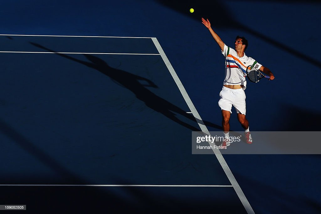 <a gi-track='captionPersonalityLinkClicked' href=/galleries/search?phrase=Albert+Ramos&family=editorial&specificpeople=6878507 ng-click='$event.stopPropagation()'>Albert Ramos</a> of Spain serves during his first round match against Olivier Rochus of Belgium during day one of the Heineken Open at ASB Tennis Centre on January 7, 2013 in Auckland, New Zealand.