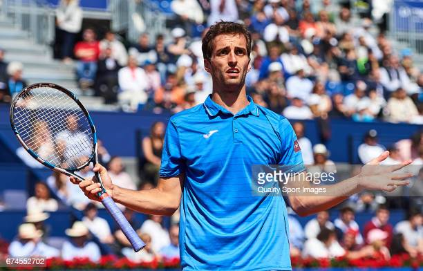 Albert Ramos Vinolas of Spain reacts at his match against Andy Murray of Great Britain during the Day 5 of the Barcelona Open Banc Sabadell at the...