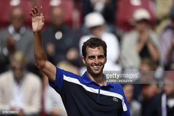 Albert RamosVinolas of Spain celebrates after winning the final tennis match against Fernando Verdasco of Spain at the Swedish Open in Bastad Sweden...