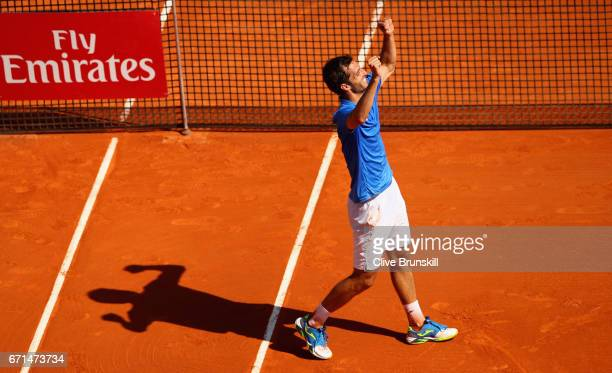 Albert RamosVinolas of Spain celebrates to the crowd after his three set victory against Lucas Pouille of France in their semi final round match on...