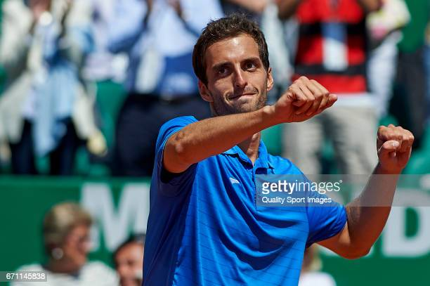 Albert RamosVinolas of Spain celebrates winning against Martin Cilic of Croatia in the men's quarterfinal match on day six of the ATP Monte Carlo...