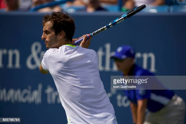 Albert RamosVinolas of Spain hits a backhand during a match in the Western Southern Open at the Lindner Family Tennis Center in Cincinnati OH