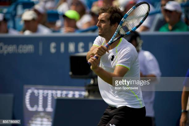 Albert RamosVinolas of Spain hits a backhand of during a match in the Western Southern Open at the Lindner Family Tennis Center in Cincinnati OH