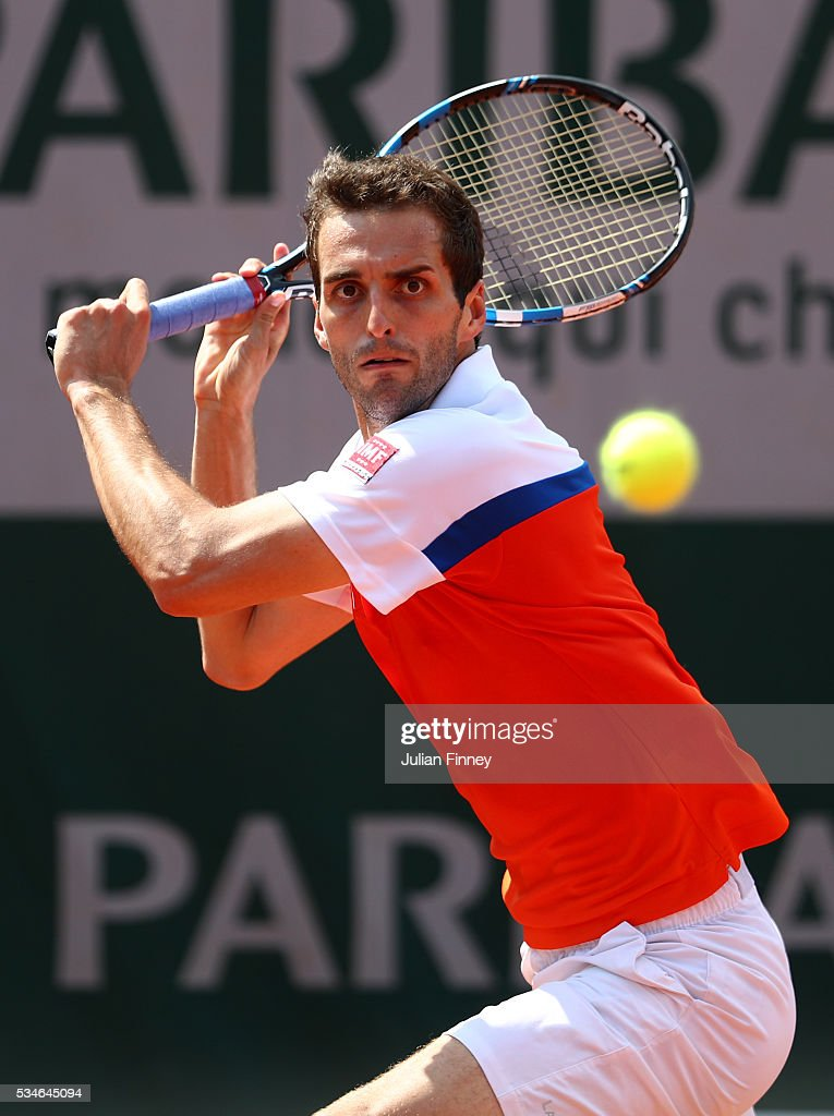<a gi-track='captionPersonalityLinkClicked' href=/galleries/search?phrase=Albert+Ramos&family=editorial&specificpeople=6878507 ng-click='$event.stopPropagation()'>Albert Ramos</a>-Vinolas of Spain hits a forehand during the Men's Singles third round match against Jack Sock of the United States on day six of the 2016 French Open at Roland Garros on May 27, 2016 in Paris, France.