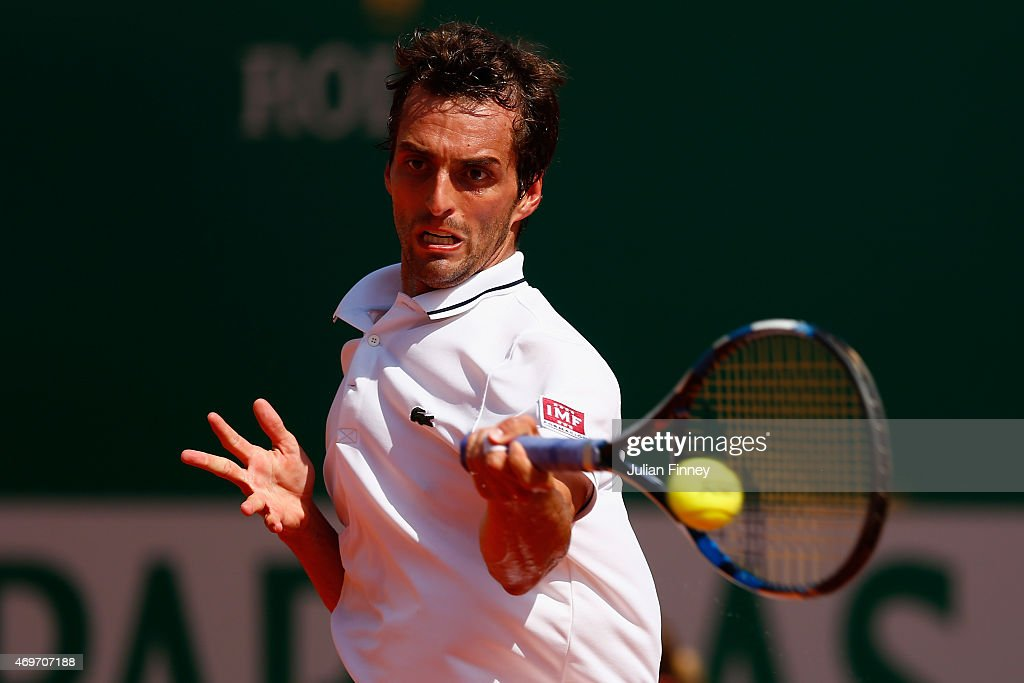 <a gi-track='captionPersonalityLinkClicked' href=/galleries/search?phrase=Albert+Ramos&family=editorial&specificpeople=6878507 ng-click='$event.stopPropagation()'>Albert Ramos</a>-Vinolas of Spain in action against Novak Djokovic of Serbi during day three of the Monte Carlo Rolex Masters tennis at the Monte-Carlo Sporting Club on April 14, 2015 in Monte-Carlo, Monaco.