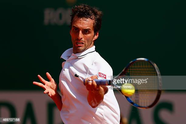 Albert RamosVinolas of Spain in action against Novak Djokovic of Serbi during day three of the Monte Carlo Rolex Masters tennis at the MonteCarlo...