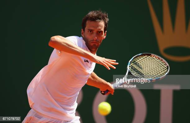 Albert RamosVinolas of Spain plays a forehand against Marin Cilic of Croatia in their quarter final round match on day six of the Monte Carlo Rolex...