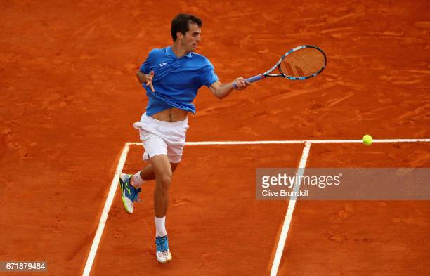 Albert RamosVinolas of Spain plays a forehand against Rafael Nadal of Spain in the final on day eight of the Monte Carlo Rolex Masters at MonteCarlo...
