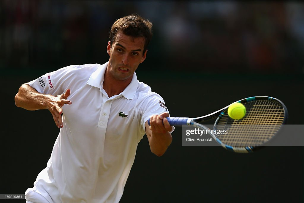 <a gi-track='captionPersonalityLinkClicked' href=/galleries/search?phrase=Albert+Ramos&family=editorial&specificpeople=6878507 ng-click='$event.stopPropagation()'>Albert Ramos</a>-Vinolas of Spain plays a forehand during his Gentlemens Singles Second Round match againstJo-Wilfried Tsonga of France during day four of the Wimbledon Lawn Tennis Championships at the All England Lawn Tennis and Croquet Club on July 2, 2015 in London, England.