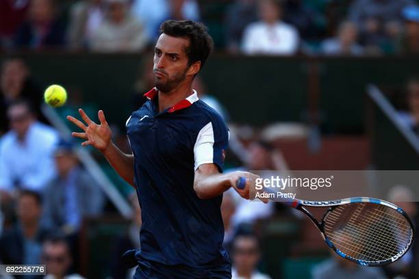 Albert RamosVinolas of Spain plays a forehand during the mens singles fourth round match against Novak Djokovic of Serbia on day eight of the 2017...