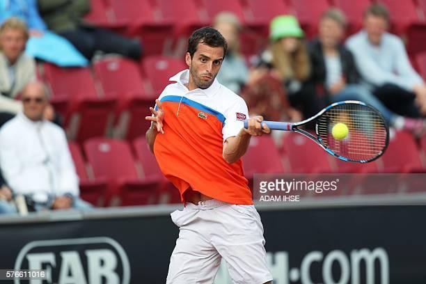 Albert RamosVinolas of Spain plays against David Ferrer of Spain in a semi final in Swedish Open on July 16 2016 in Bastad / AFP / TT News Agency /...