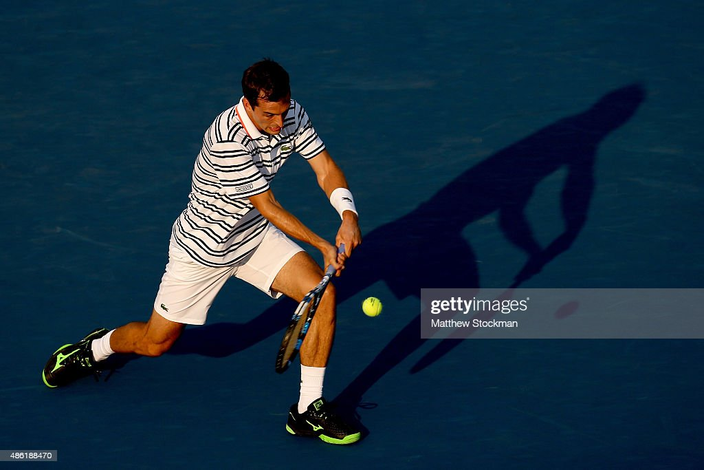 <a gi-track='captionPersonalityLinkClicked' href=/galleries/search?phrase=Albert+Ramos&family=editorial&specificpeople=6878507 ng-click='$event.stopPropagation()'>Albert Ramos</a>-Vinolas of Spain returns a shot against Stan Wawrinka of Switzerland during their Men's Singles First Round match on Day Two of the 2015 US Open at the USTA Billie Jean King National Tennis Center on September 1, 2015 in the Flushing neighborhood of the Queens borough of New York City.