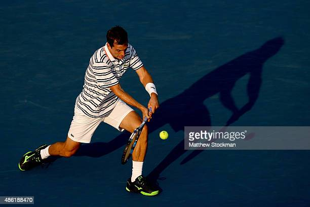 Albert RamosVinolas of Spain returns a shot against Stan Wawrinka of Switzerland during their Men's Singles First Round match on Day Two of the 2015...