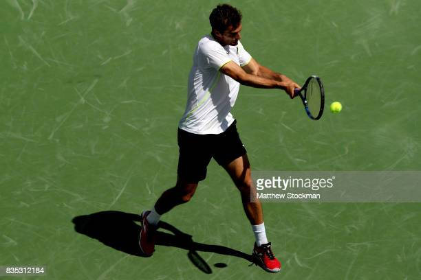 Albert RamosVinolas of Spain returns a shot to Rafael Nadal of Spain during day 7 of the Western Southern Open at the Lindner Family Tennis Center on...