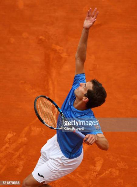 Albert RamosVinolas of Spain serves against Rafael Nadal of Spain in the final on day eight of the Monte Carlo Rolex Masters at MonteCarlo Sporting...