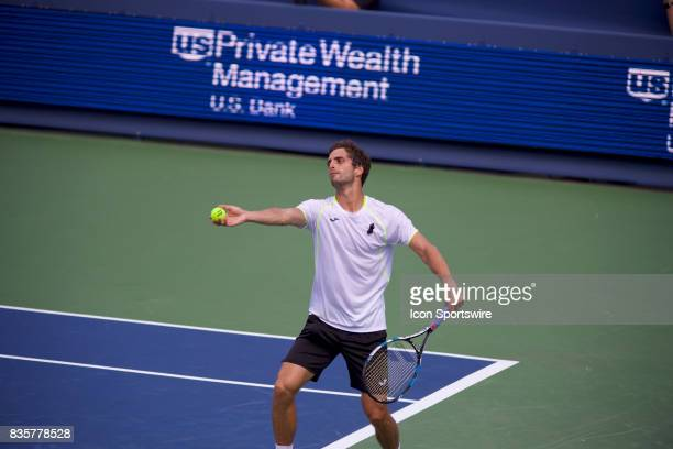 Albert RamosVinolas of Spain serves the ball of during a match in the Western Southern Open at the Lindner Family Tennis Center in Cincinnati OH