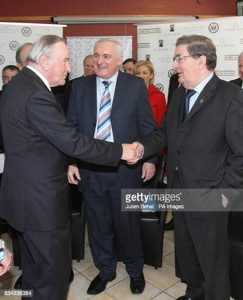 Albert Reynolds Taoiseach Bertie Ahern and John Hume in BBC studios Belfast where politicians who negotiated The Good Friday Agreement ten years ago...