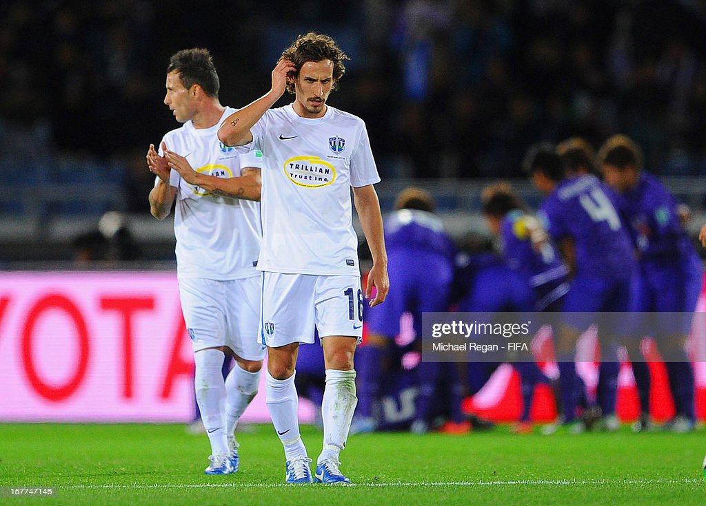 Albert Riera of Auckland looks dejected after the winning goal scored by Hiroshima during the FIFA Club World Cup match between Sanfrecce Hiroshima and Auckland City at International Stadium Yokohama on December 6, 2012 in Yokohama, Japan.