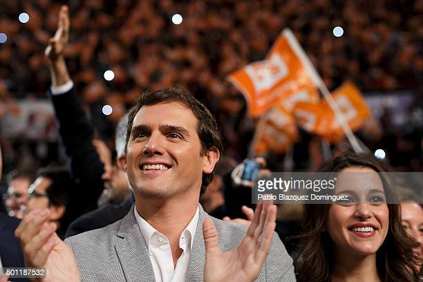 Albert Rivera leader of Ciudadanos and Ines Arrimadas member of Ciudadanos applaud to their supporters as they arrive to a campaign rally at Palacio...