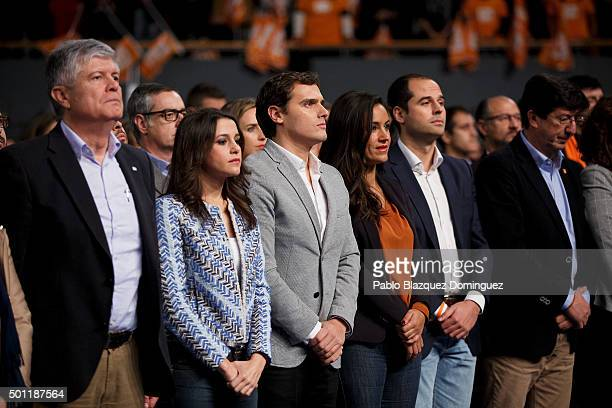 Albert Rivera leader of Ciudadanos Ines Arrimadas member of Ciudadanos amid other members and supporters pay a minute of silence in memory of two...