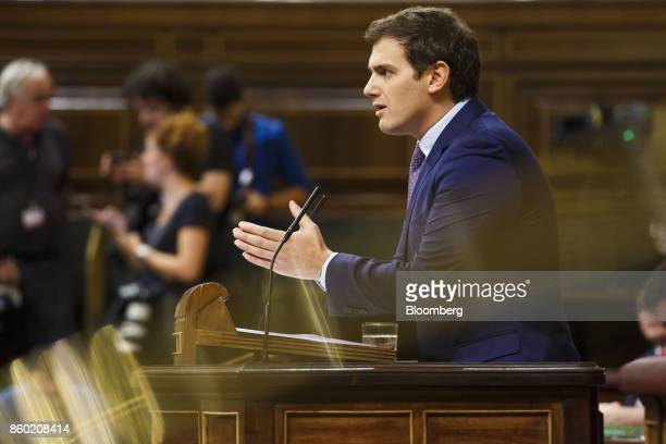 Albert Rivera leader of the Ciudadanos Party speaks at the parliament in Madrid Spain on Wednesday Oct 11 2017 Rajoy speaking after an emergency...