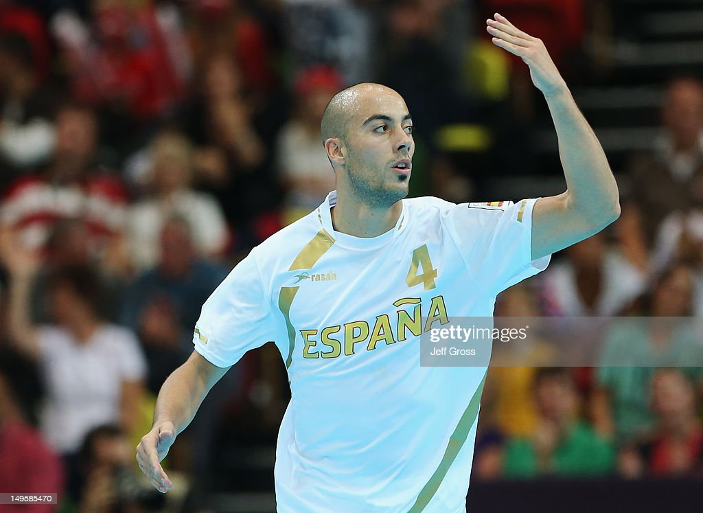 <a gi-track='captionPersonalityLinkClicked' href=/galleries/search?phrase=Albert+Rocas&family=editorial&specificpeople=855149 ng-click='$event.stopPropagation()'>Albert Rocas</a> Comas of Spain celebrates during the Men's Handball Preliminary match between Denmark and Spain on Day 4 of the London 2012 Olympic Games at The Copper Box on July 31, 2012 in London, England.