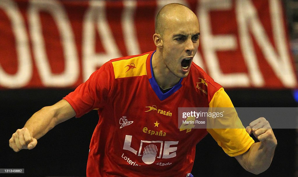 <a gi-track='captionPersonalityLinkClicked' href=/galleries/search?phrase=Albert+Rocas&family=editorial&specificpeople=855149 ng-click='$event.stopPropagation()'>Albert Rocas</a> of Spain celebrates after scoring during the Mens'Handball Supercup match between Sweden and Spain at Max-Schmeling-Halle on November 3, 2011 in Berlin, Germany.