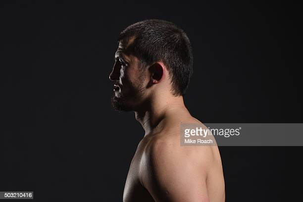 Albert Tumenov of Russia poses for a portrait backstage during the UFC 195 event inside MGM Grand Garden Arena on January 2 2016 in Las Vegas Nevada