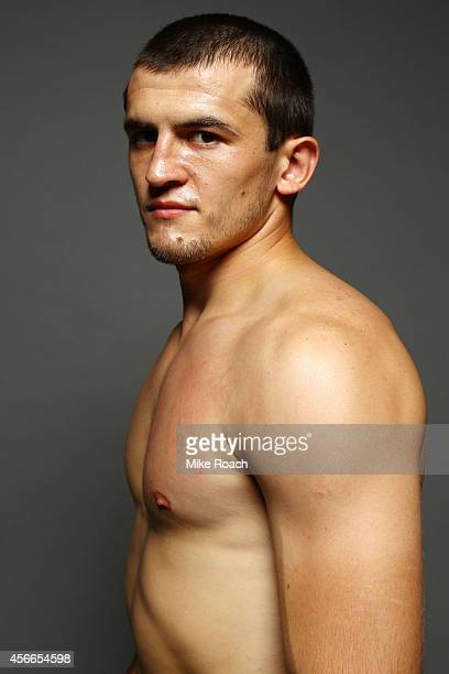 Albert Tumenov of Russia poses for a postfight portrait backstage during the UFC Fight Night event at the Scotiabank Centre on October 4 2014 in...