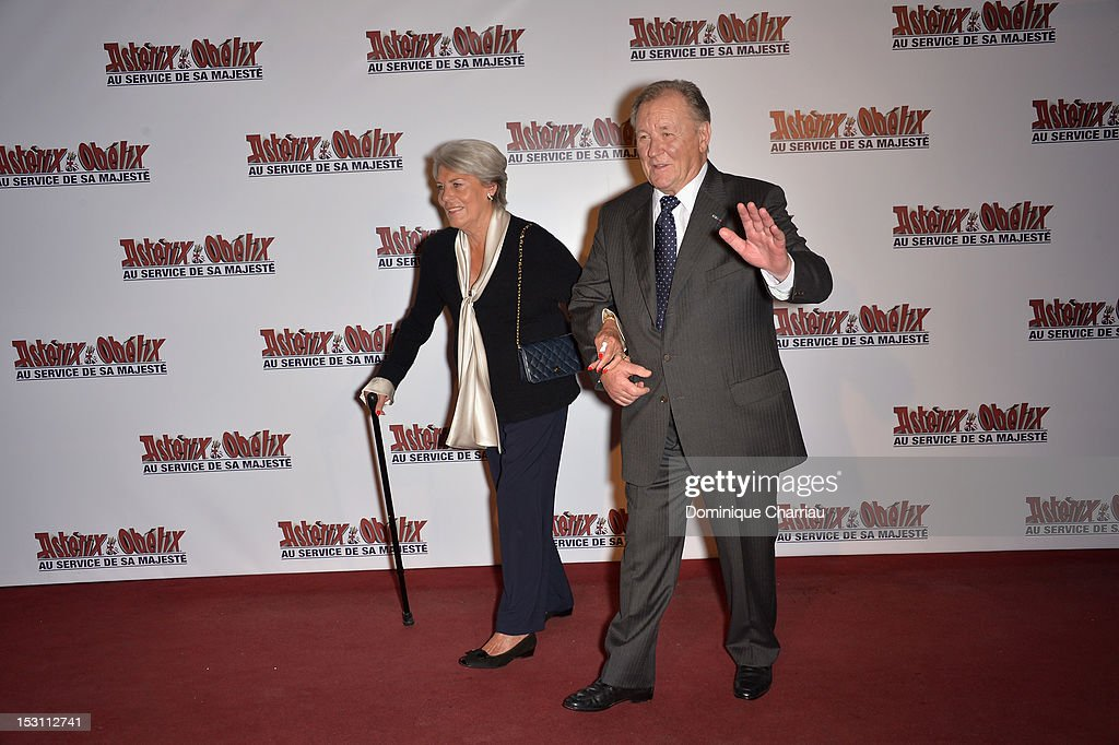 Albert Uderzo and his wife attend 'Asterix & Obelix: Au Service De Sa Majeste' at Le Grand Rex on September 30, 2012 in Paris, France.