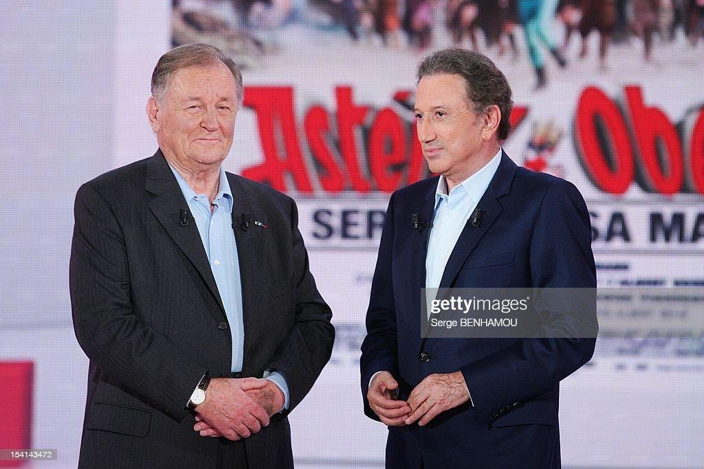 Albert Uderzo and Michel Drucker attend Vivement Dimanche Tv show on October 3, 2012 in Paris, France.