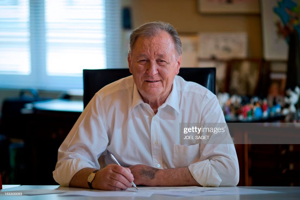 Albert Uderzo, French author and illustrator who launched the Asterix comics strip character in 1959 with author Rene Goscinny, poses in his office at his home on October 2, 2012 in Neuilly-sur-Sei...