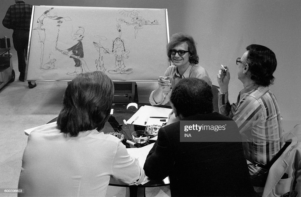 Albert Uderzo René Goscinny Michel Greg and Dany during the recording of the television program 'As quick as a flash'
