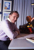 Albert Uderzo the creator of Asterix and Obelix poses with his characters France Albert Uderzo le createur d'Asterix et d'Obelix pose avec ses...
