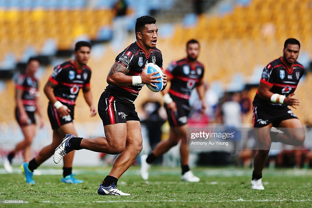 Albert Vete of the Warriors in action during the round nine NSW Intrust Super Cup Premiership match between the New Zealand Warriors and the Canterbury Bankstown Bulldogs at Mt Smart Stadium on May 1, 2016 in Auckland, New Zealand.