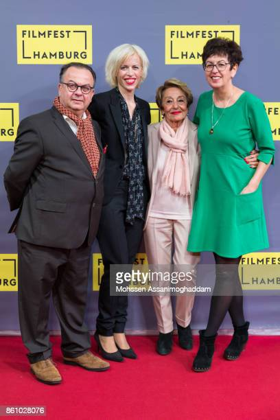 Albert Wiederspiel Katja Eichinger and guests pose as they arrive for the Douglas Sirk Award ceremony on October 13 2017 in Hamburg Germany