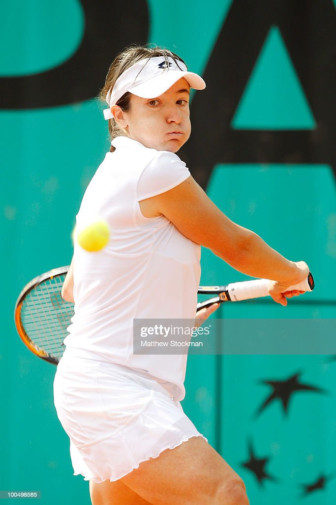 Alberta Brianti of Italy plays a backhand during the women's singles first round match between Vera Zvonareva of Russia and Alberta Brianti of Italy on day three of the French Open at Roland Garros on May 25, 2010 in Paris, France.