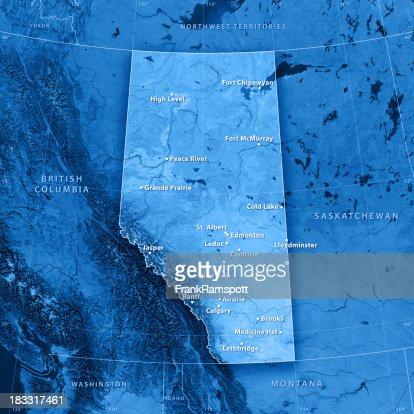 Alberta Cities Topographic Map