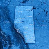 """""""3D render and image composing: Topographic Map of Alberta, Canada. Including state borders, cities, rivers and accurate longitude/latitude lines. Very high resolution available! High quality relief s"""