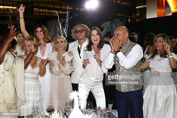 Alberta Ferretti Bianca Brandolini d'Adda Franca Sozzani Peter Dundas Carla Bruni Christian Louboutin and guest dance at the Gala event during the...