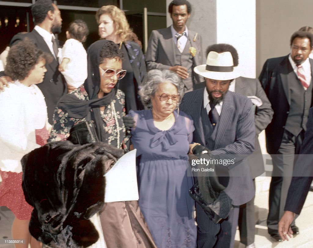 Alberta Gaye with family during Funeral Service for Marvin Gaye at Forest Lawn Mortuary in Hollywood, California, United States.