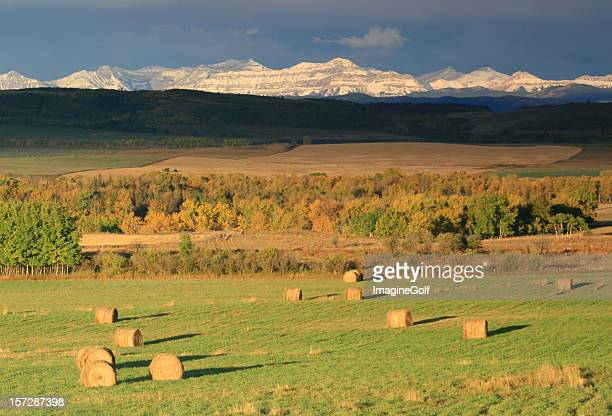 Alberta Rocky Mountains and Hay Bales