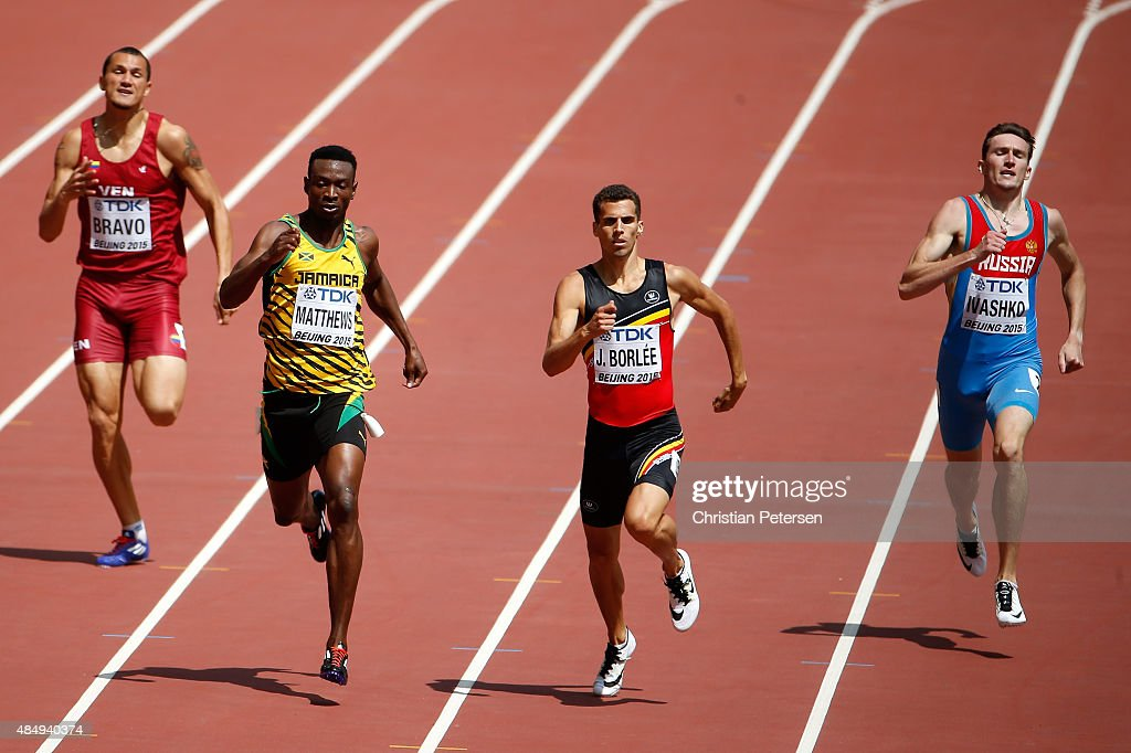 Alberth Bravo of Venezuela, Peter Matthews of Jamaica, Jonathan Borlee of Belgium and Pavel Ivashko of Russia compete in the Men's 400 metres heats during day two of the 15th IAAF World Athletics Championships Beijing 2015 at Beijing National Stadium on August 23, 2015 in Beijing, China.