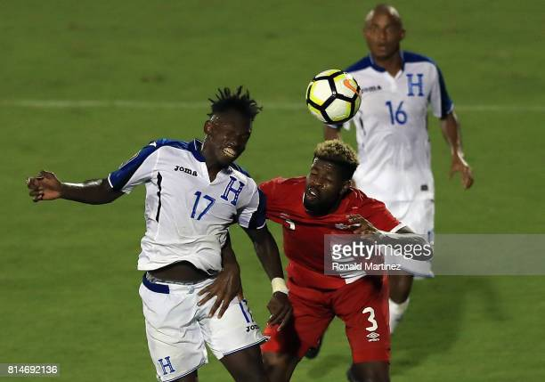 Alberth Elis of Honduras and Manjrekar James of Canada during the 2017 CONCACAF Gold Cup at Toyota Stadium on July 14 2017 in Frisco Texas
