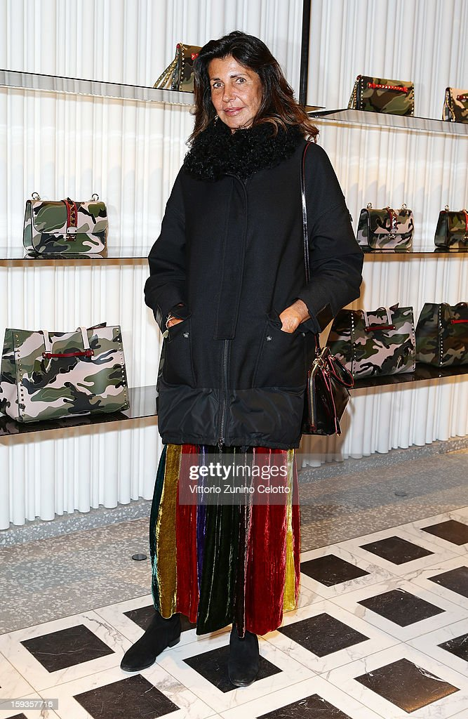 Albertina Marzotto attends Valentino Cocktail Party as part of Milan Fashion Week Menswear Autumn/Winter 2013 on January 12, 2013 in Milan, Italy.