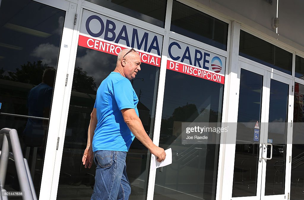 Alberto Abin walks out of the UniVista Insurance company office after shopping for a health plan under the Affordable Care Act, also known as Obamacare, on December 15, 2015 in Miami, Florida. Today, is the deadline to sign up for a plan under the Affordable Care Act for people that want to be insured on January 1, 2016.