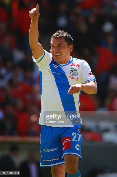 Alberto Acosta of Puebla celebrates after scoring the tying goal during the fourth round match between Toluca and Puebla as part of the Clausura 2016...